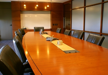 Professionally cleaned business meeting room